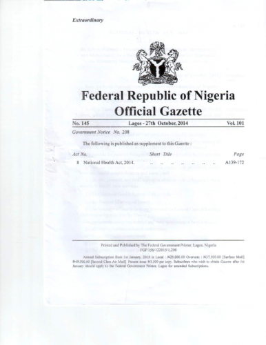 Gazette of the National Health Act 2014 .compressed